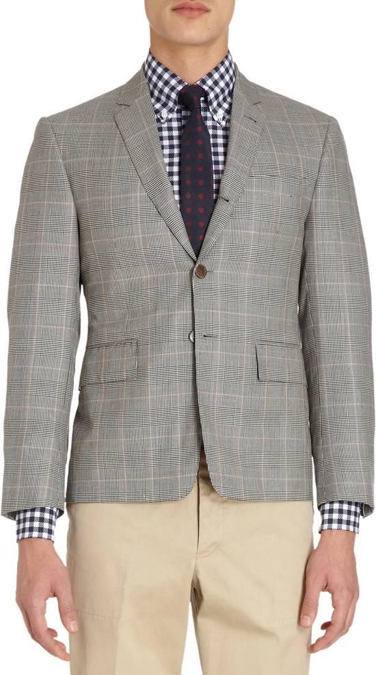 Thom Browne Men's Grey Black & White Prince Of Wales Wool Blazer Size US M / EU 48-50 / 2