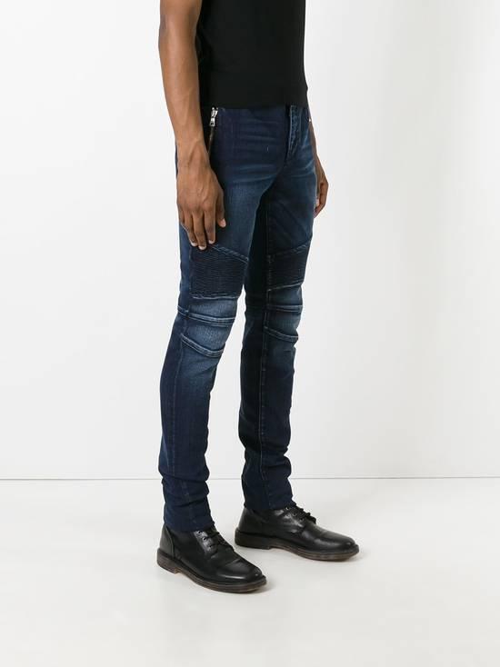 Balmain 995$ New Dark Blue Cotton Blend Biker Jeans Size US 29