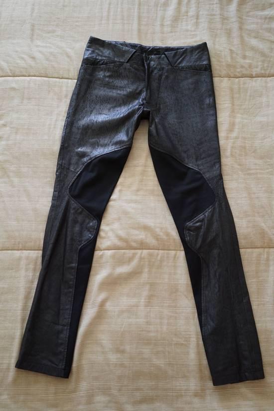 Julius Knee Paneled Leather Biker Pants Size US 30 / EU 46 - 2