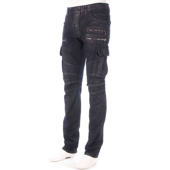 Balmain 1495$ Waxed Cargo Biker Jeans In Black Denim Size US 32 / EU 48 - 1