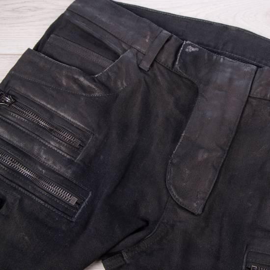 Balmain 1495$ Waxed Cargo Biker Jeans In Black Denim Size US 32 / EU 48 - 9