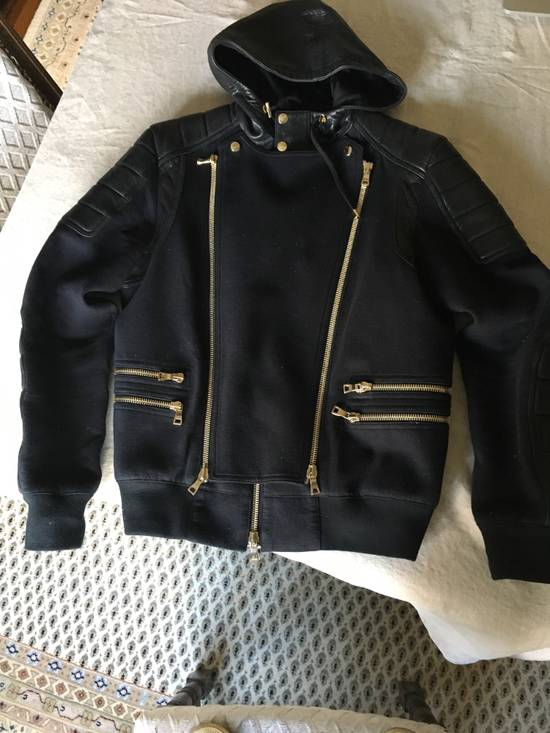 Balmain Spring Navy Bomber with Black Leather SS17 Size US L / EU 52-54 / 3