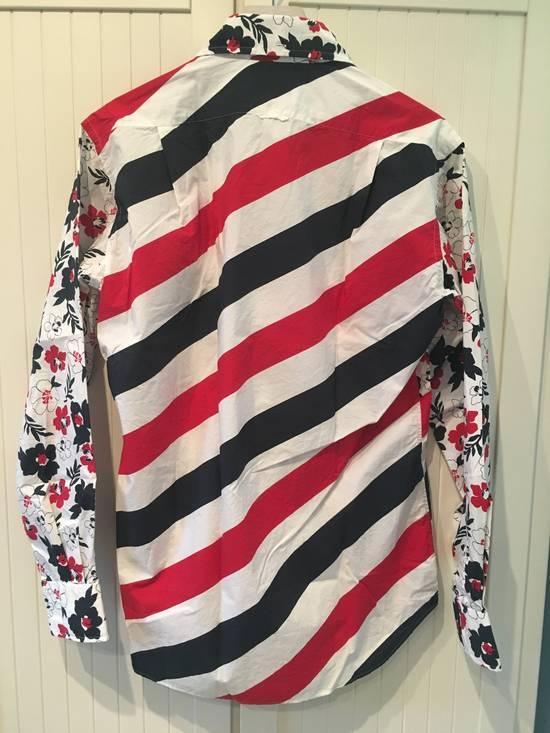 Thom Browne Floral Print Diagonal Stripe Poplin Cotton Shirt Size US XL / EU 56 / 4 - 6