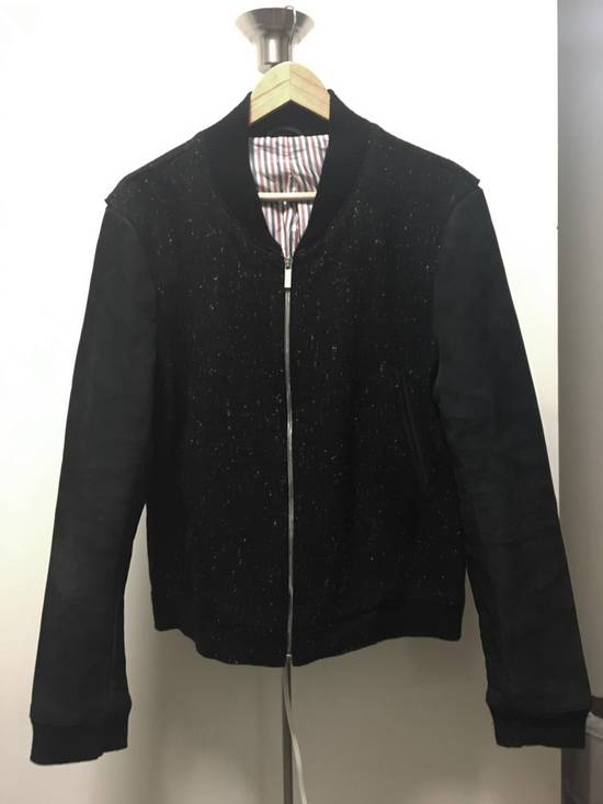 Thom Browne Men's Black Full Grain Nubuck and Donegal Wool Bomber Jacket Size US L / EU 52-54 / 3 - 1