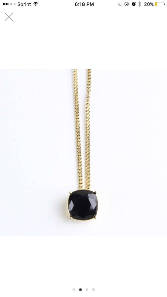 Givenchy Givenchy Black Crystal Pendant Gold Tone Necklace Chain Size ONE SIZE - 1