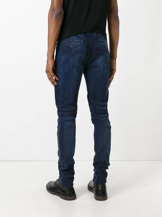 Balmain 995$ New Dark Blue Cotton Blend Biker Jeans Size US 29 - 1
