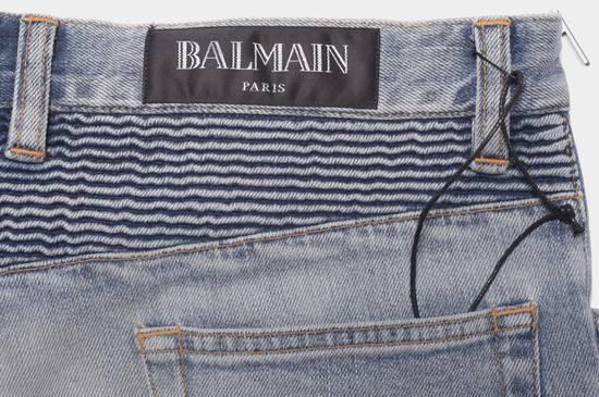 Balmain 1565$ Skinny Light Blue Distressed Biker Jeans Size US 33 - 12