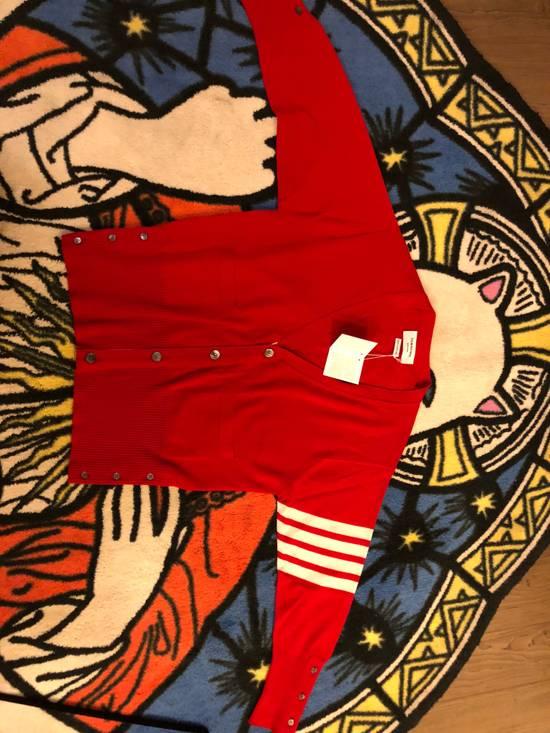 Thom Browne Short V-Neck Cardigan With 4-Bar Strip In Red Size US XXL / EU 58 / 5 - 4