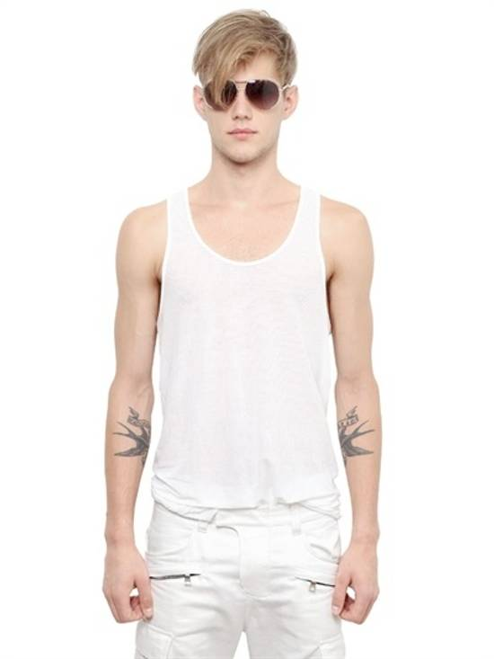 Balmain White Ribbed Knit Tank Top Size US L / EU 52-54 / 3 - 1