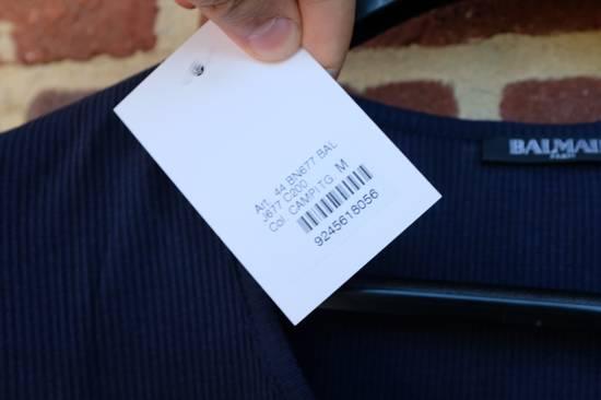 Balmain Blue Ribbed Knit T-shirt Size US M / EU 48-50 / 2 - 4