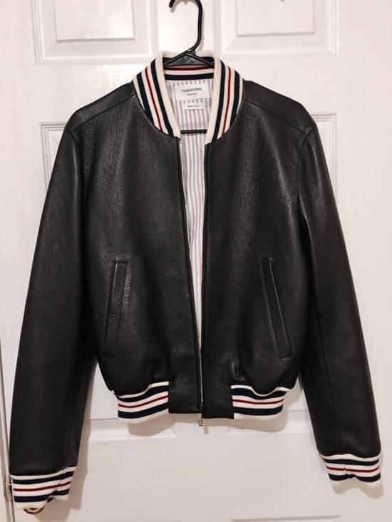 Thom Browne Black Leather Varsity Jacket (NEW W TAG) Size US XS / EU 42 / 0 - 1