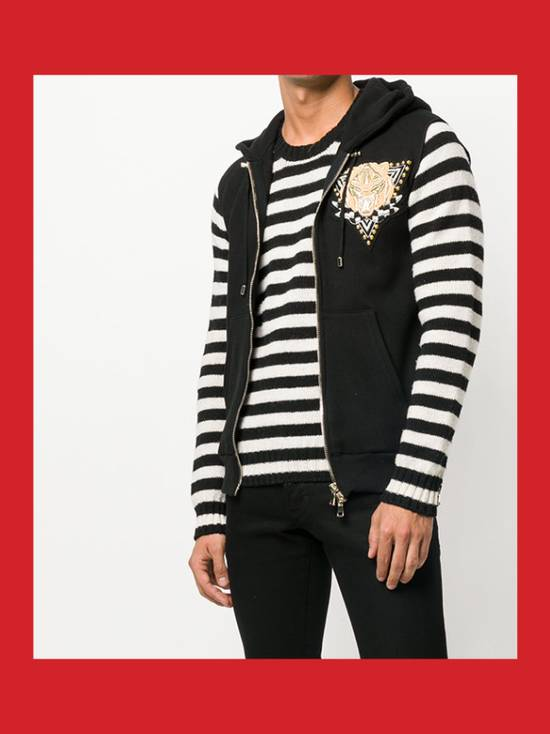 Balmain Cotton Jersey Sleeveless Hoodie with Badge / Embroidered Zip Vest Size US M / EU 48-50 / 2