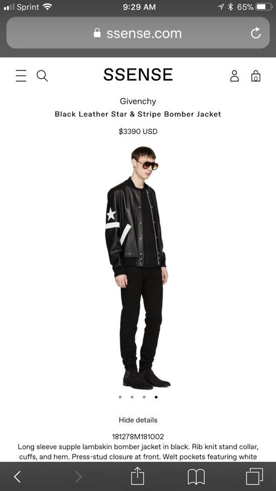 Givenchy Givenchy Black Leather Star And Stripe Bomber Jacket Size US M / EU 48-50 / 2