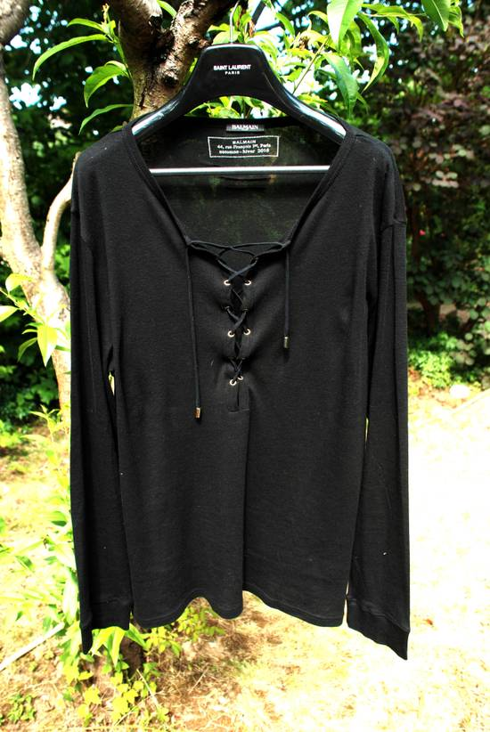 Balmain Black Lace-up Long Sleeved T-Shirt Size US XL / EU 56 / 4 - 2