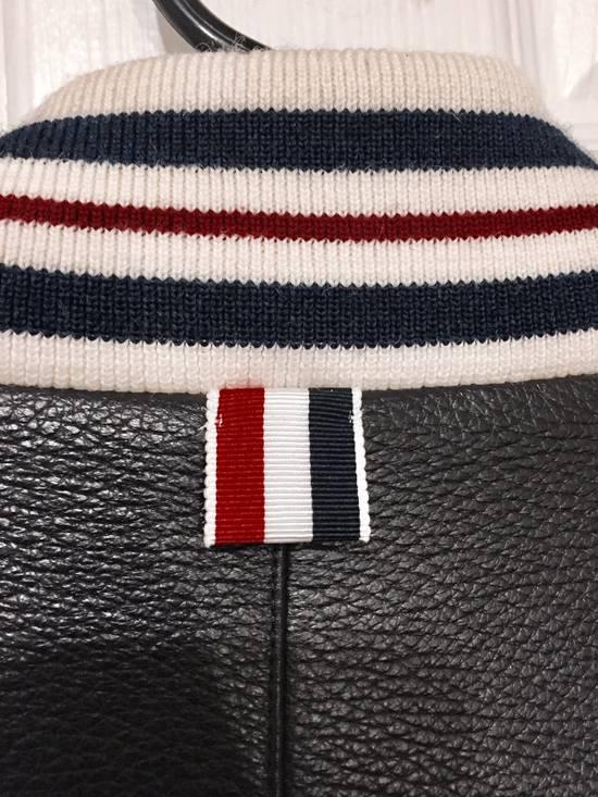 Thom Browne Black Leather Varsity Jacket (NEW W TAG) Size US XS / EU 42 / 0 - 3