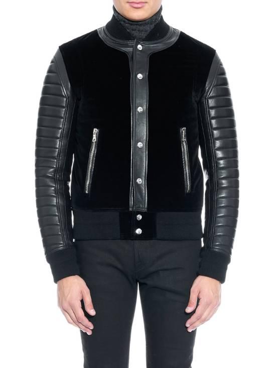 Balmain Sz 44 Black Leather Velvet Biker Bomber Varsity Teddy Jacket Size US XS / EU 42 / 0 - 2