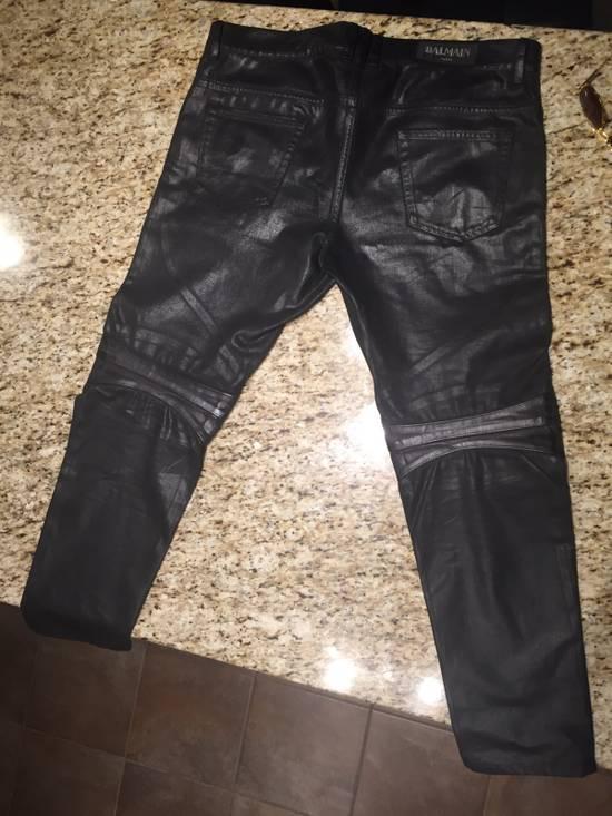 Balmain Waxed Denim Goat Leather Panelled Biker Jeans Size US 35 - 1