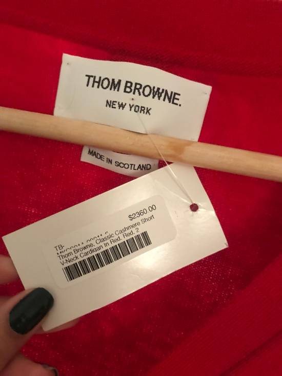 Thom Browne Short V-Neck Cardigan With 4-Bar Strip In Red Size US M / EU 48-50 / 2 - 1