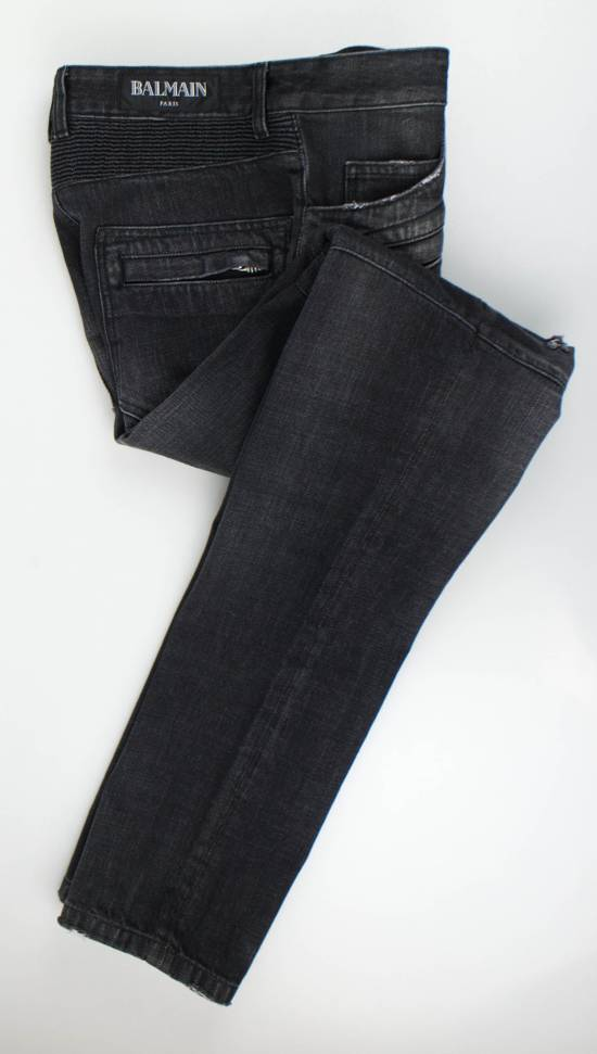 Balmain Blue Denim Distressed Slim Fit Biker Jeans Pants Size US 30 / EU 46