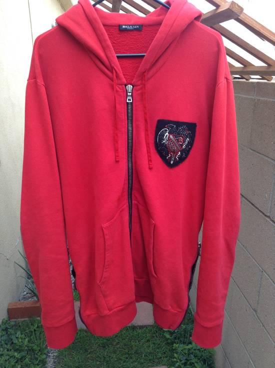 Balmain Red Crest Side Zip Hoodie Size US XL / EU 56 / 4