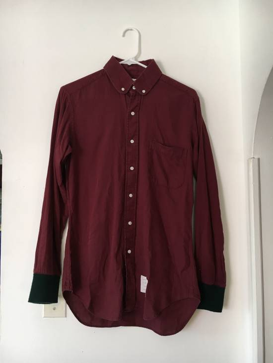 Thom Browne Red Shirt with Green Knit Cuff Size US S / EU 44-46 / 1