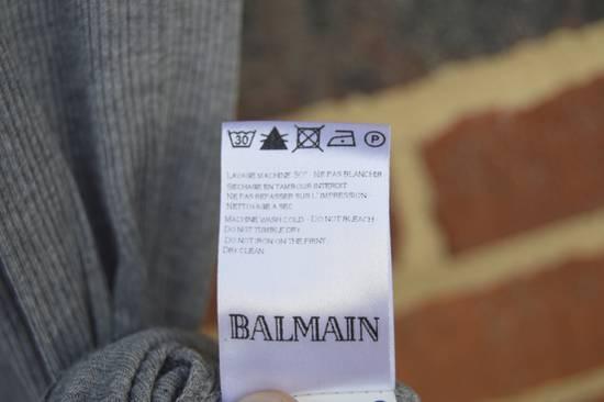 Balmain Grey Ribbed Knit T-shirt Size US M / EU 48-50 / 2 - 5