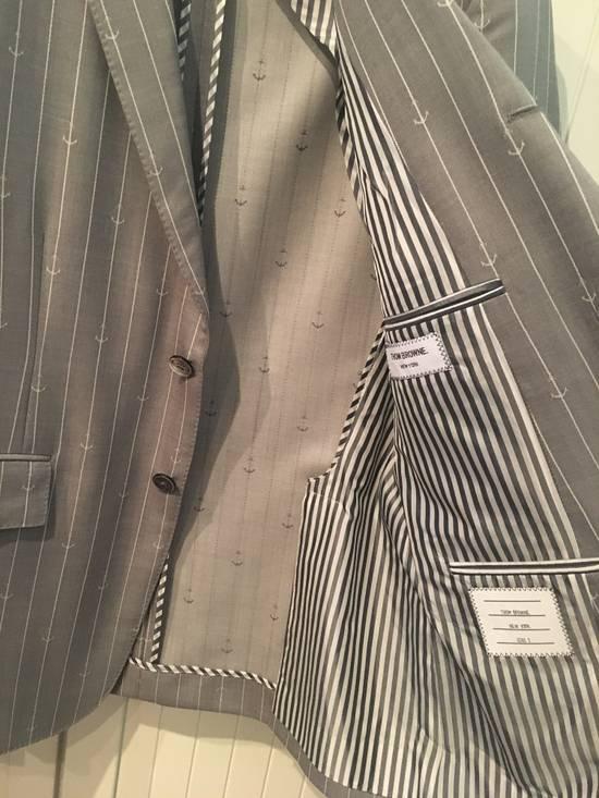 Thom Browne Sport Blazer in Grey/White Anchor Pinstripe Wool Jacquard Size US S / EU 44-46 / 1 - 3