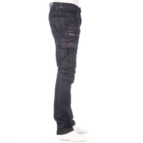 Balmain 1495$ Waxed Cargo Biker Jeans In Black Denim Size US 32 / EU 48 - 6