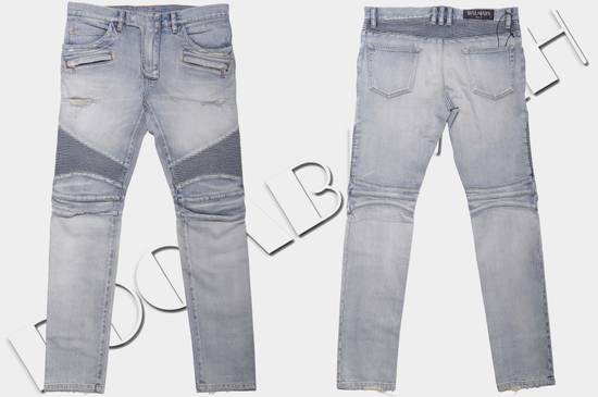 Balmain 1565$ Skinny Light Blue Distressed Biker Jeans Size US 33 - 5