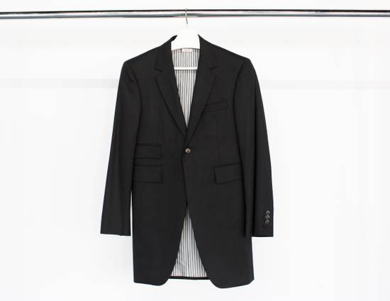 Thom Browne Long sport coat in black wool flannel (FW15) Size 36S