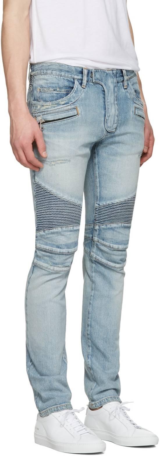 Balmain 1565$ Skinny Light Blue Distressed Biker Jeans Size US 33