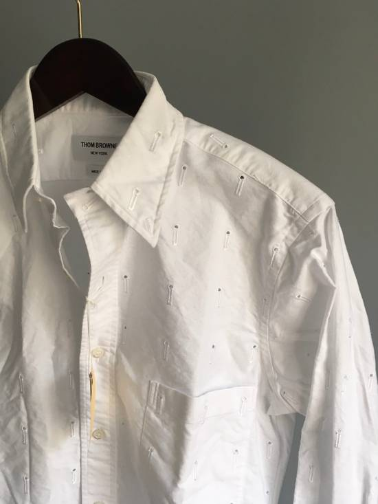 Thom Browne Button-Down Collar Embroidered Cotton Oxford Shirt, White Size3/Medium Brand New With Tags Size US M / EU 48-50 / 2 - 7