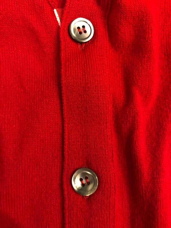 Thom Browne Short V-Neck Cardigan With 4-Bar Strip In Red Size US XXL / EU 58 / 5 - 6