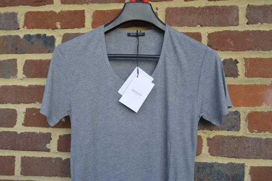 Balmain Grey Ribbed Knit T-shirt Size US M / EU 48-50 / 2 - 1