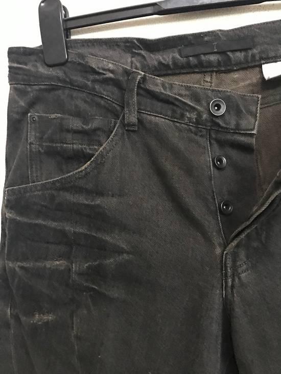 Julius Japanese Designer JULIUS7 Made in Japan Distressed Curved in Legs Denim Pant Size US 33 - 3