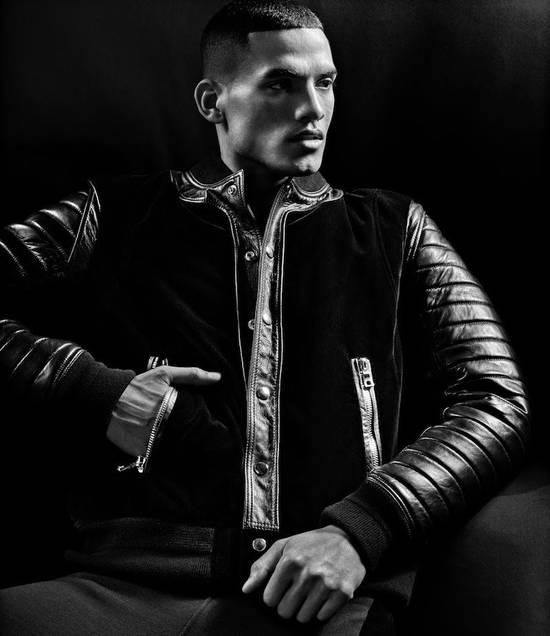 Balmain Sz 44 Black Leather Velvet Biker Bomber Varsity Teddy Jacket Size US XS / EU 42 / 0 - 5