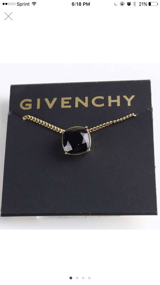 Givenchy Givenchy Black Crystal Pendant Gold Tone Necklace Chain Size ONE SIZE
