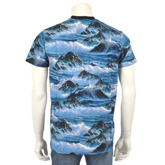 Givenchy Blue Hawaii Print Crew Neck T-Shirt With Red 'Eye of Providence' Embroidery Size US XXS / EU 40 - 4