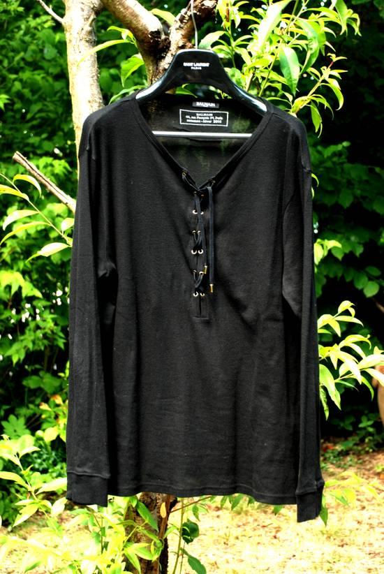 Balmain Black Lace-up Long Sleeved T-Shirt Size US XL / EU 56 / 4 - 1