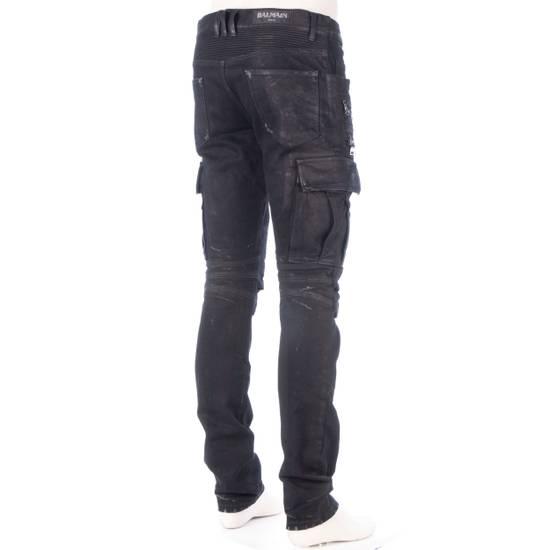 Balmain 1495$ Waxed Cargo Biker Jeans In Black Denim Size US 32 / EU 48 - 5