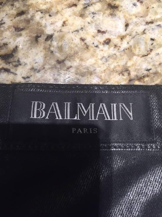 Balmain Waxed Denim Goat Leather Panelled Biker Jeans Size US 35 - 2