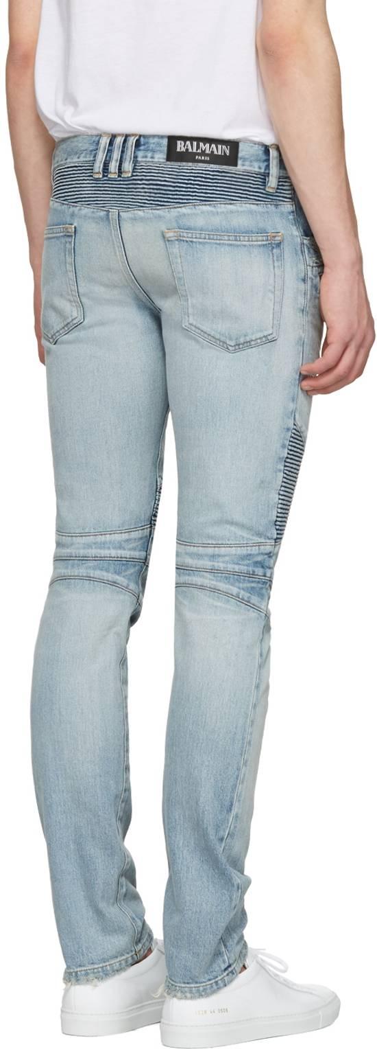 Balmain 1565$ Skinny Light Blue Distressed Biker Jeans Size US 33 - 2