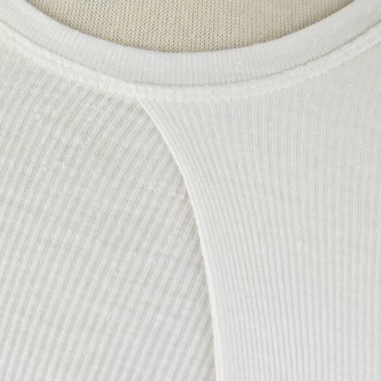 Julius 7 White Silk Blend Long Sleeve Long Ribbed Crewneck T-Shirt 4/L Size US L / EU 52-54 / 3 - 4