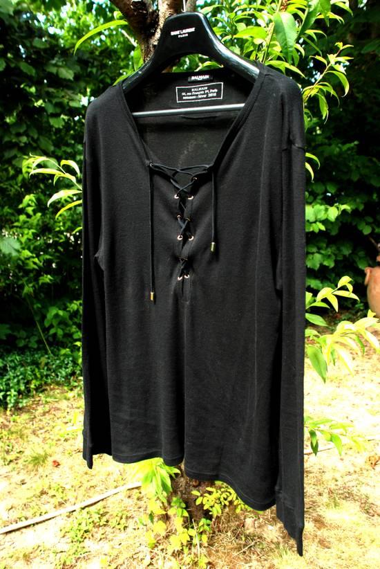 Balmain Black Lace-up Long Sleeved T-Shirt Size US XL / EU 56 / 4