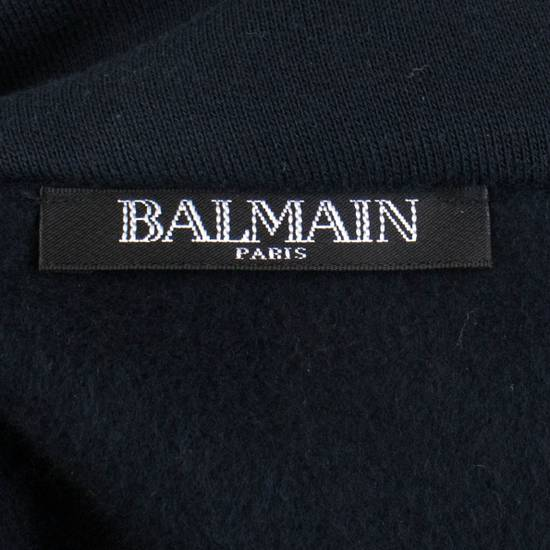 Balmain Blue Cotton Embroidered Patch 1/2 Zip Sweater Size M Size US M / EU 48-50 / 2 - 8