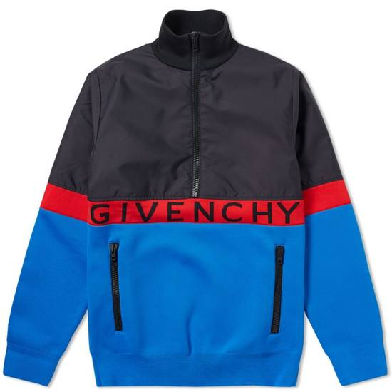 Givenchy GIVENCHY HALF ZIP LOGO BAND JACKET (BLUE/RED/BLACK) Size US XL / EU 56 / 4