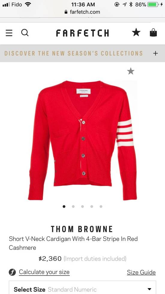 Thom Browne Short V-Neck Cardigan With 4-Bar Strip In Red Size US M / EU 48-50 / 2 - 4