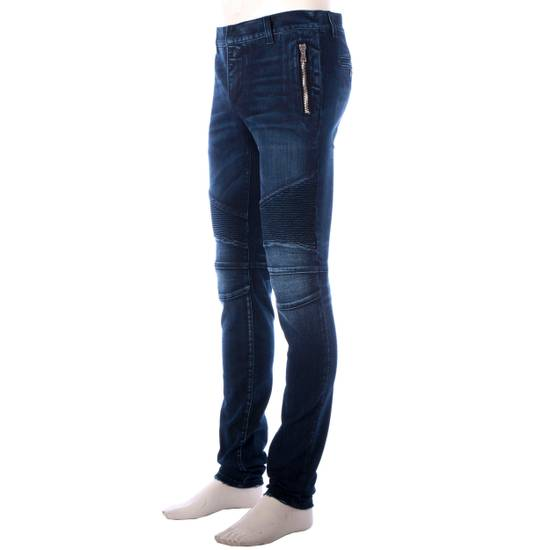 Balmain 995$ New Dark Blue Cotton Blend Biker Jeans Size US 29 - 3