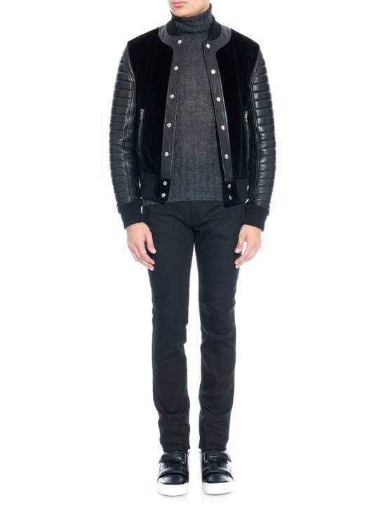 Balmain Sz 44 Black Leather Velvet Biker Bomber Varsity Teddy Jacket Size US XS / EU 42 / 0 - 4