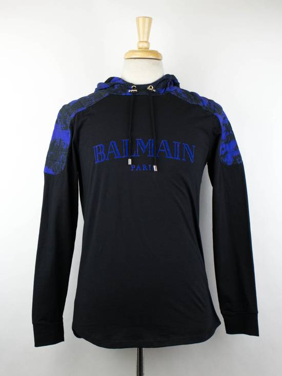 Balmain Black Cotton Shoulder Detail Hoodie Sweatshirt Shirt S Size US S / EU 44-46 / 1